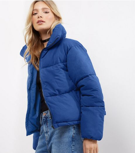 Blue Cropped Puffer Jacket  | New Look
