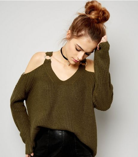 Khaki D Ring V Neck Cold Shoulder Jumper  | New Look