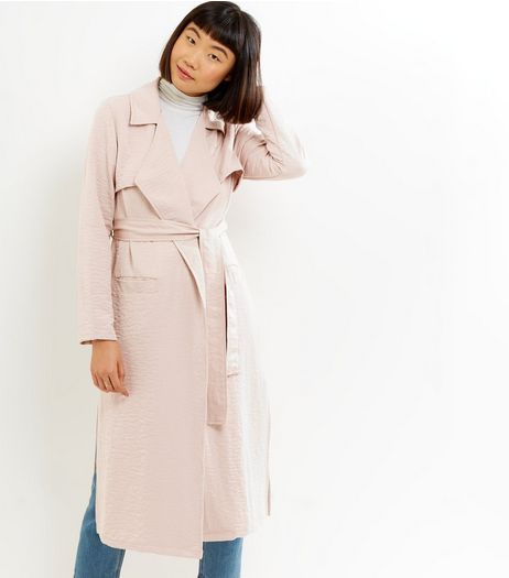 Shell Pink Sateen Trench Coat | New Look