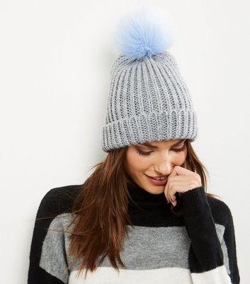 b66c141ca14cf Grey Faux Fur Pom Pom Hat