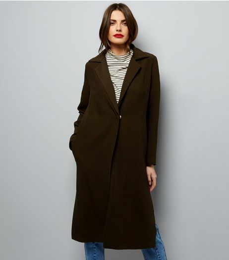 Khaki Textured Maxi Duster Coat  | New Look