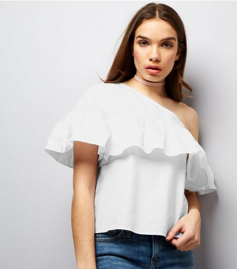 Noisy May White Frill Trim Off The Shoulder Top  | New Look