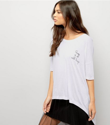 Noisy May White Wild Things Slogan Dip Hem T-Shirt | New Look