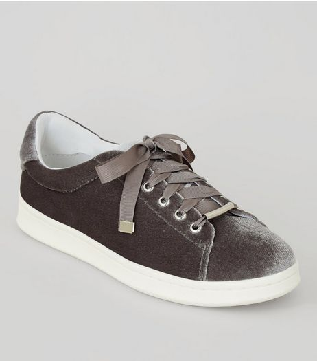 Grey Velvet Lace Up Trainers  | New Look