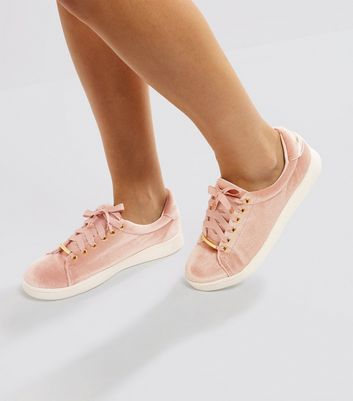 Pink Velvet Lace Up Trainers | New Look