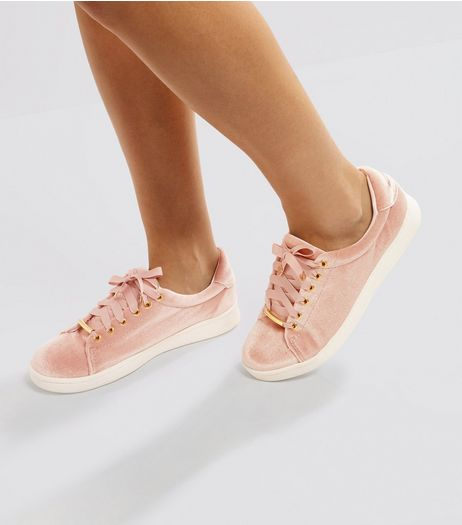 Pink Velvet Trainers | New Look
