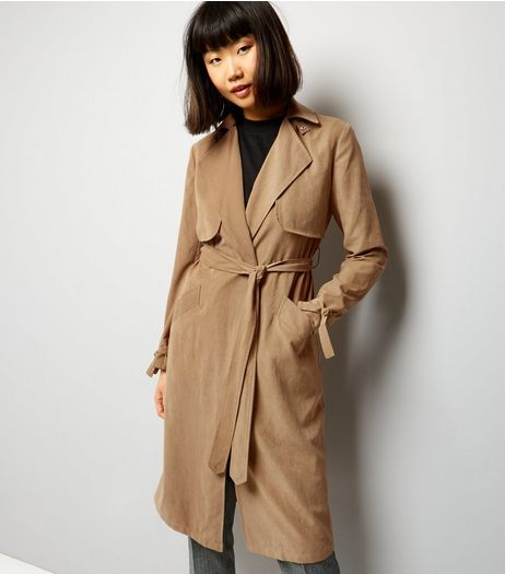 Tan Button Neck Trench Coat | New Look