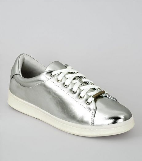 Silver Metallic Trainers | New Look