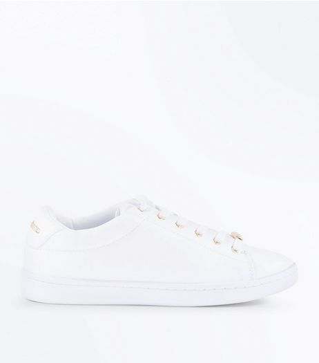 White Metal Trim Trainers  | New Look