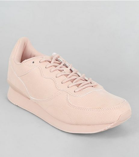 Pink Snakeskin Texture Trainers | New Look