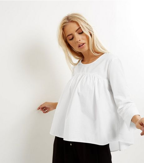 Noisy May White 3/4 Sleeve Pleated Top  | New Look