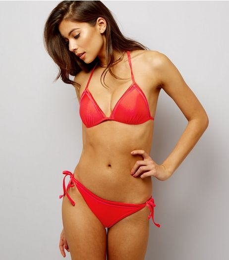 Red Ladder Trim Halter Neck Bikini Top  | New Look