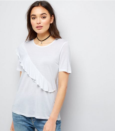 Noisy May White Frill Trim Short Sleeve Top  | New Look