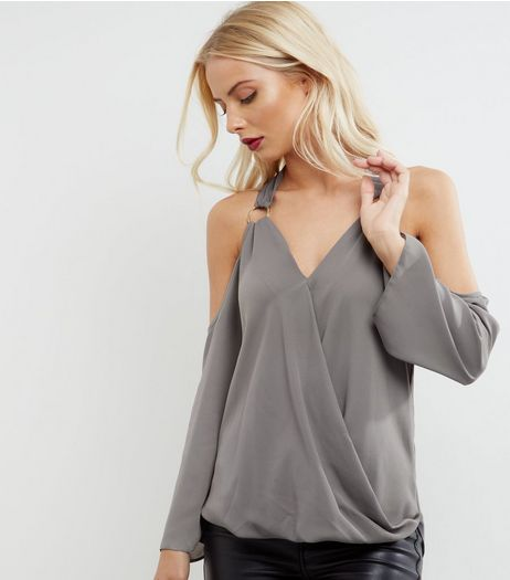 Grey Ring Strap Wrap Front Cold Shoulder Top | New Look