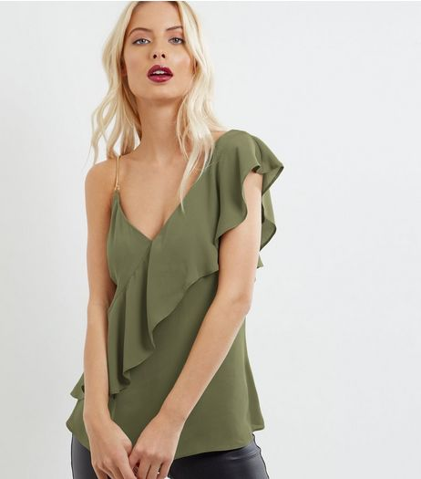 Khaki Chain Strap Asymmetric Frill Trim Top | New Look