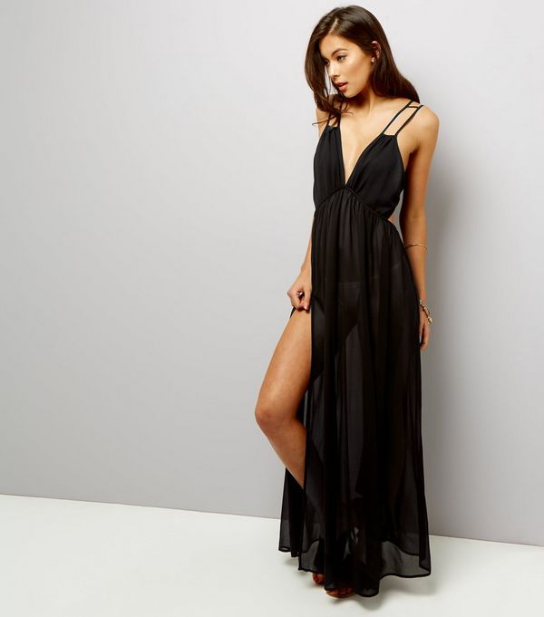 Black Chiffon Maxi Beach Dress