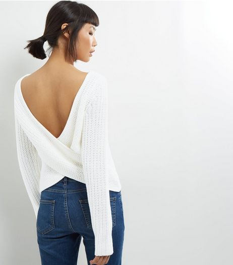 Noisy May White Open Wrap Back Long Sleeve Knitted Top  | New Look
