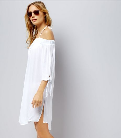 White Bardot Neck Beach Dress | New Look