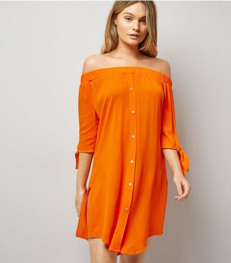 Orange Bardot Neck Beach Dress | New Look