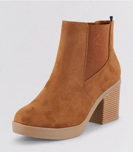 Wide Fit Tan Suedette Chunky Heeled Boots | New Look