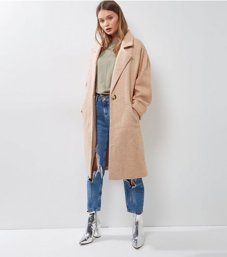 Pink Roll Sleeve Longline Coat  | New Look