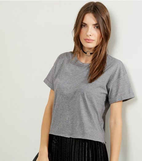 Grey Short Sleeve Crop Top  | New Look