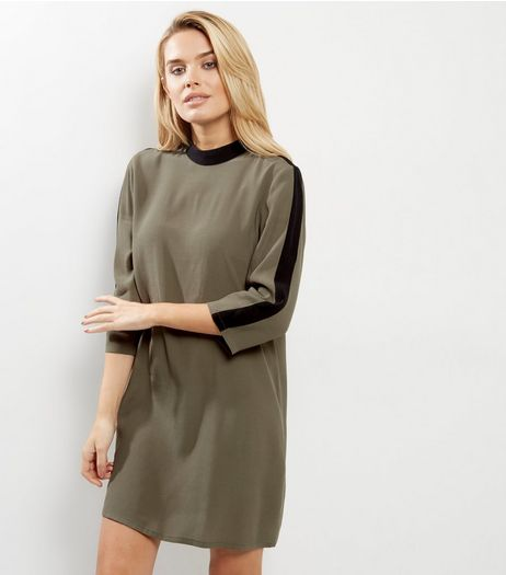 Apricot Khaki Contrast Trim Shift Dress | New Look
