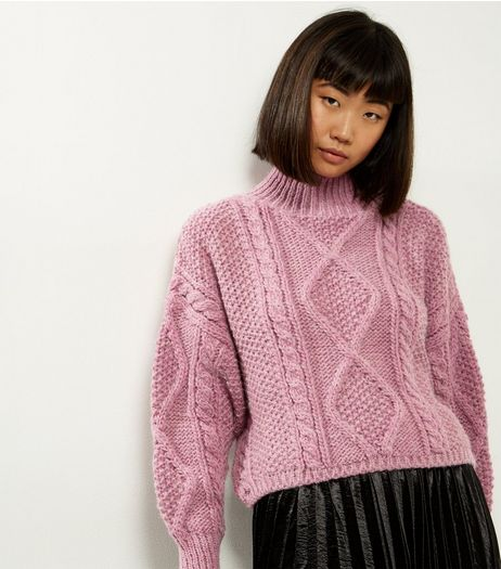 Pink Premium Chunky Cable Knit Cropped Jumper | New Look