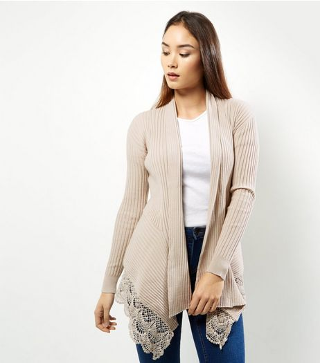 Apricot Stone Crochet Trim Hem Waterfall Cardi | New Look