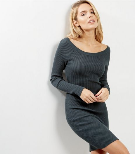 Apricot Dark Green Ribbed Bodycon Dress | New Look