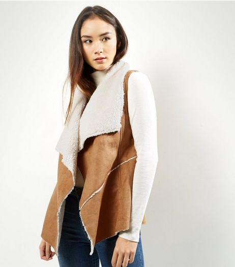Apricot Tan Suedette Faux Shearling Lined Gillet | New Look