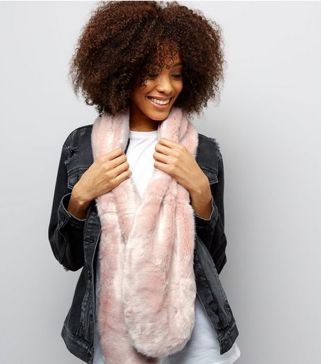 Pink Faux Fur Scarf | New Look