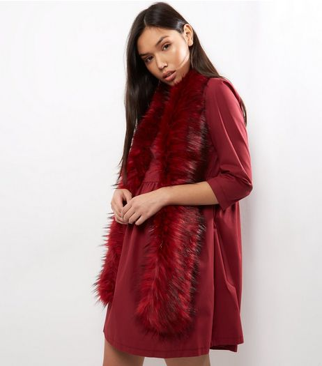 Red Faux Fur Stole | New Look