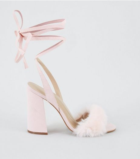 Pink Suedette Faux Fur Front Tie Up Heels | New Look