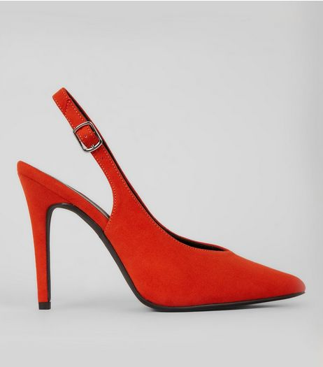 Orange Suedette Pointed Slingback Heels | New Look