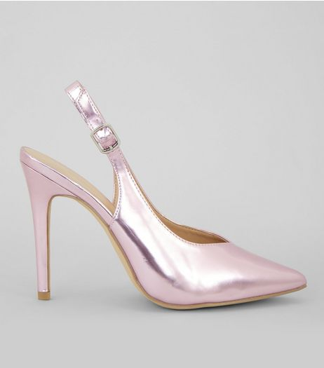 Pink Metallic Pointed Sling Back Heels | New Look