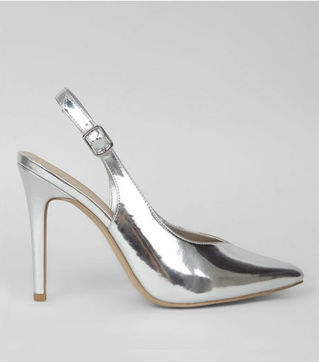 Silver Metallic Pointed Sling Back Heels | New Look