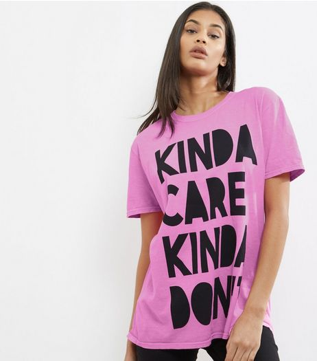 Bright Pink Slogan Print T-Shirt  | New Look