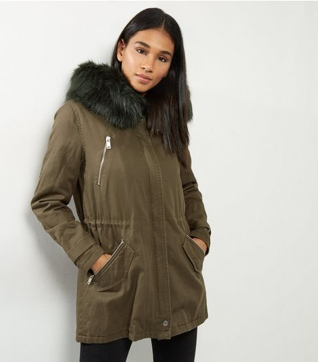 Khaki Contrast Faux Fur Trim Hooded Parka | New Look