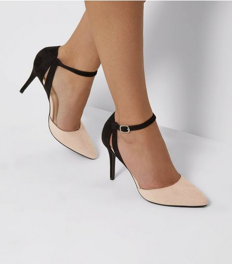 Cream Comfort Contrast Back Pointed Heels | New Look