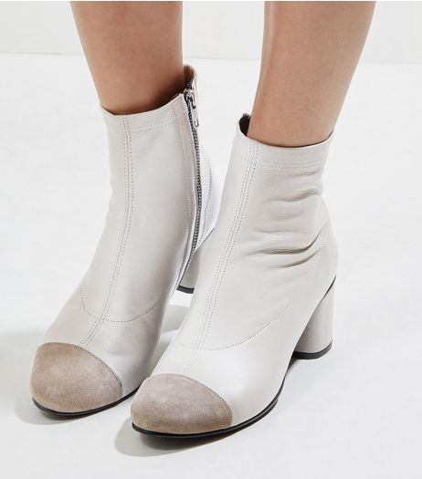 Grey Leather Contrast Toe Block Heel Boots | New Look