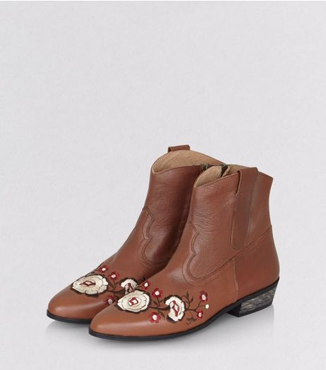 Tan Leather Floral Embroidered Western Boots | New Look