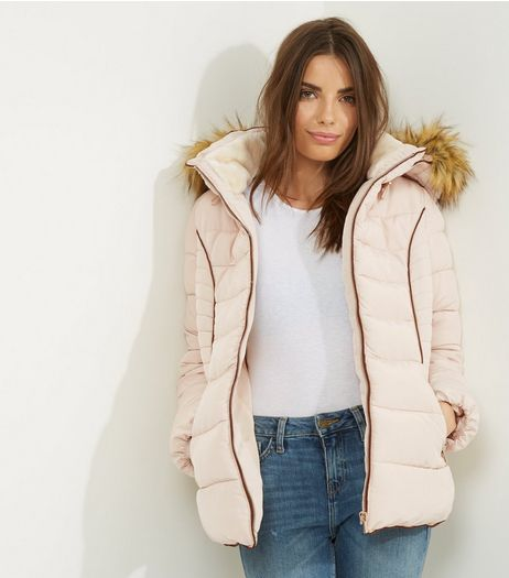 Cameo Rose Shell Pink Faux Fur Hooded Puffer Jacket | New Look