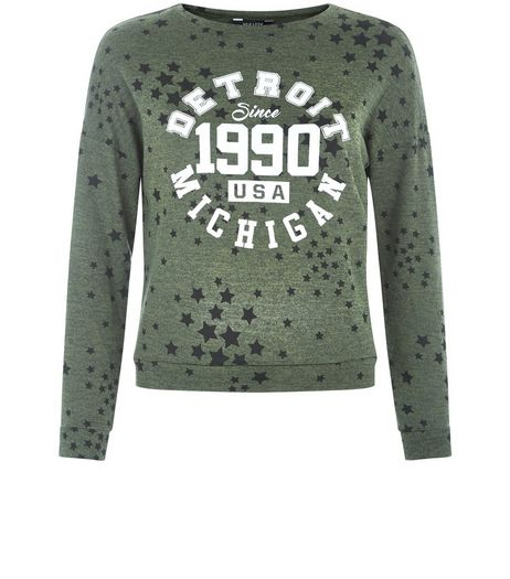Teens Khaki Star Print Baseball Sweater | New Look