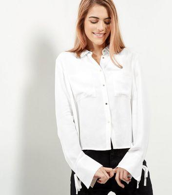 White Cropped Tie Cuff Shirt