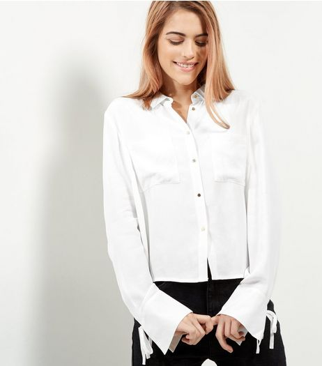White Cropped Tie Cuff Shirt | New Look