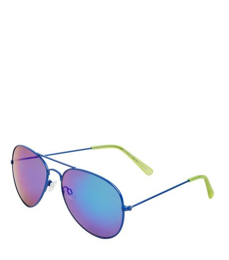 Blue Holographic Lens Pilot Sunglasses | New Look