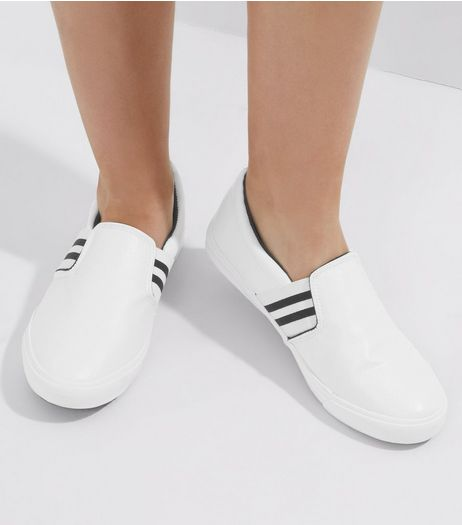 Wide Fit White Stripe Side Slip On Trainers | New Look