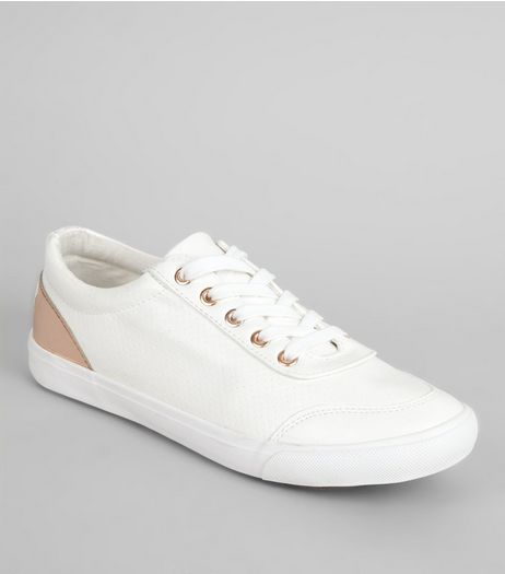 Wide Fit White Perforated Metal Trim Trainers | New Look