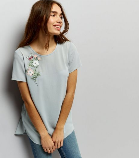 Grey Floral Embroidered Tie Back Top | New Look